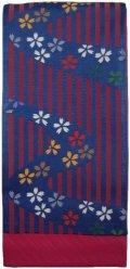 小袋帯 半幅帯 花のライン 4寸 紺