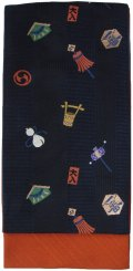 小袋帯 半幅帯 江戸の華 4寸 紺