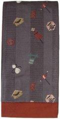 小袋帯 半幅帯 江戸の華 4寸 チャコールグレー