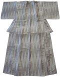 正絹 単衣の着物、兼ゆかた やま型 グレー