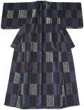 正絹 単衣の着物、兼ゆかた 縞 市松 ブラック